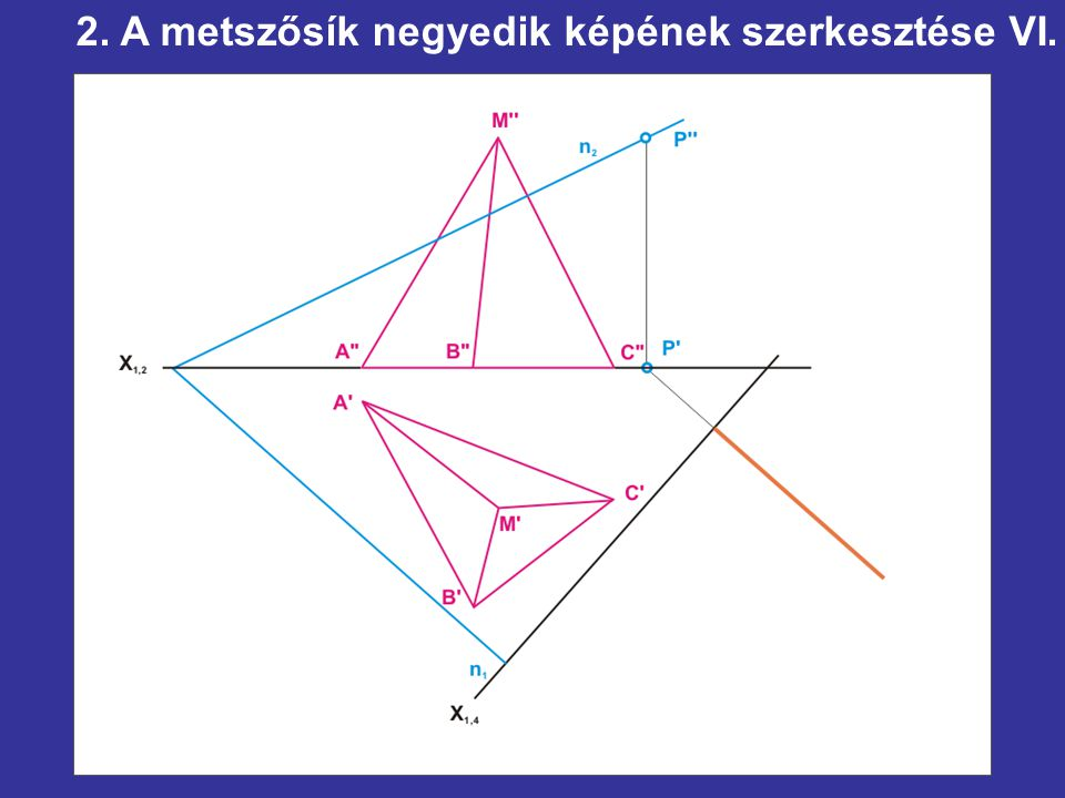 2. A metszősík negyedik képének szerkesztése VI.