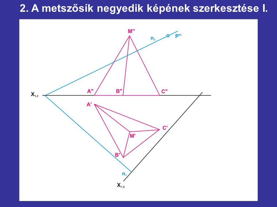 2. A metszősík negyedik képének szerkesztése I.
