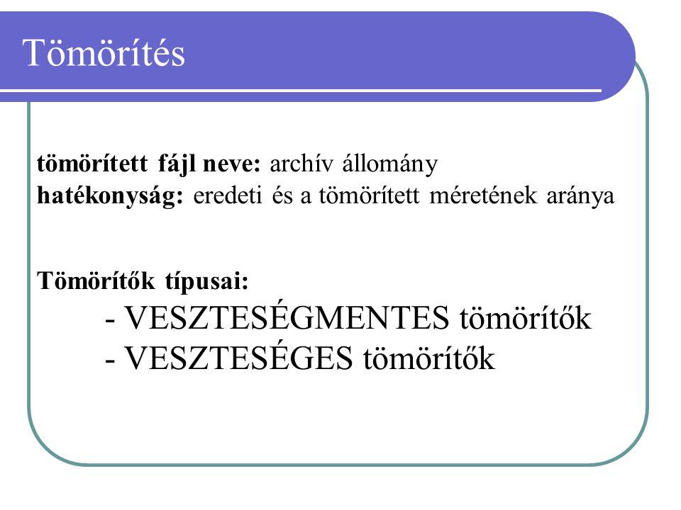 Tömörítés tömörített fájl neve: archív állomány hatékonyság: eredeti és a tömörített méretének aránya.
