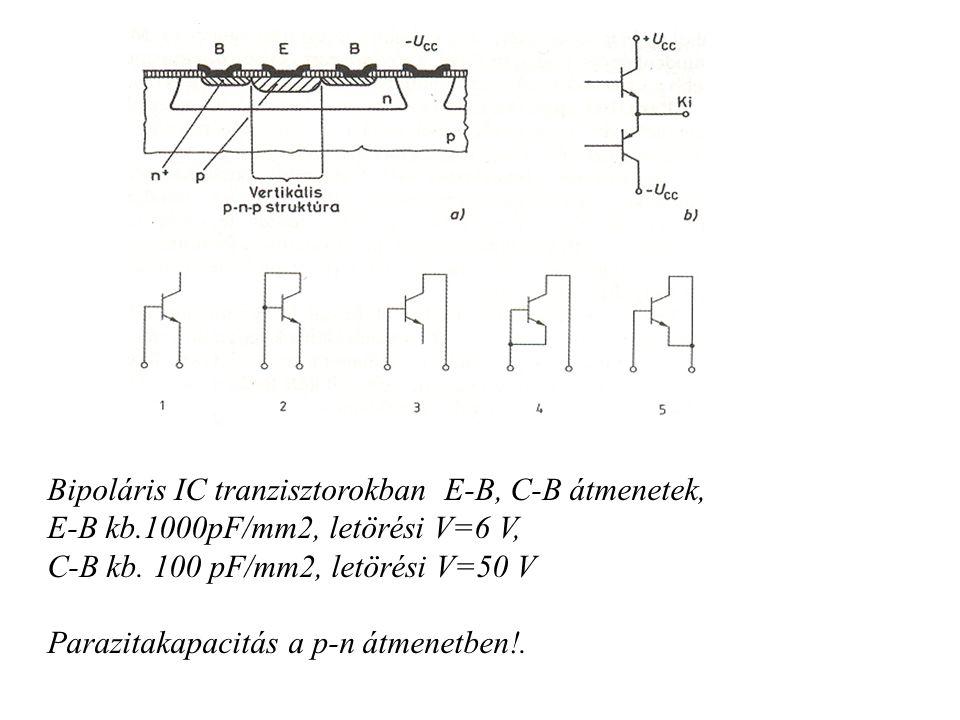 Bipoláris IC tranzisztorokban E-B, C-B átmenetek,