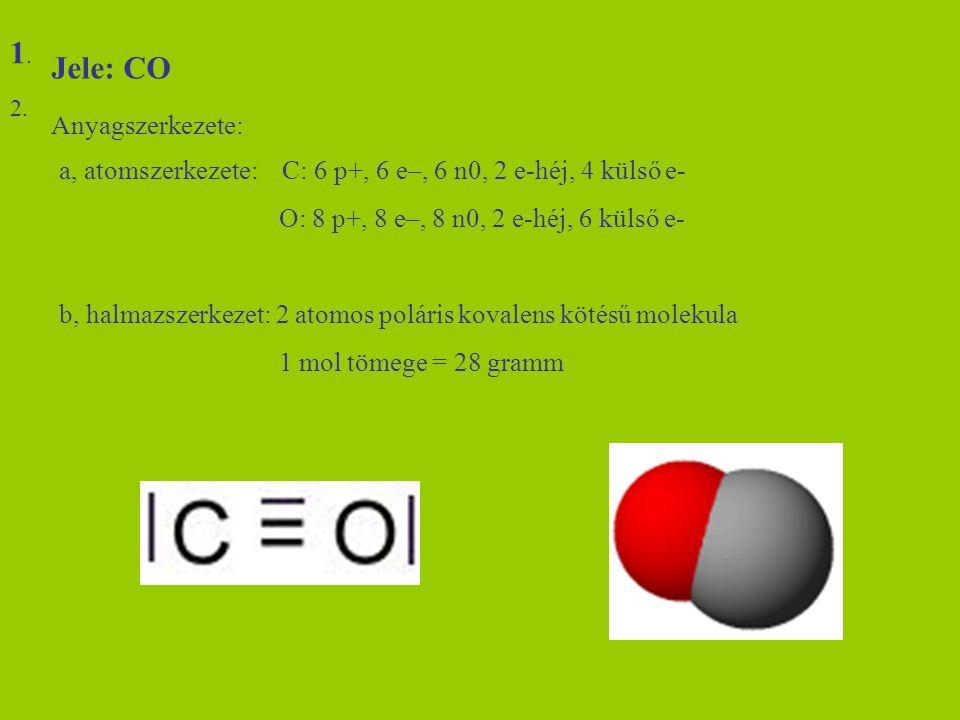 1. Jele: CO Anyagszerkezete: