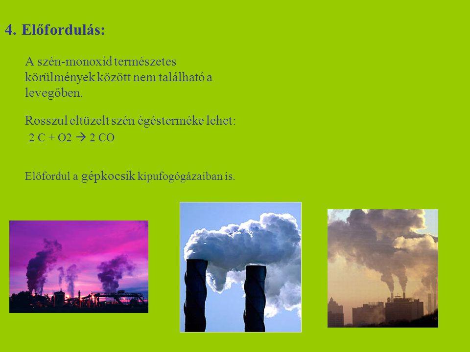 4. Előfordulás: A szén-monoxid természetes körülmények között nem található a levegőben. Rosszul eltüzelt szén égésterméke lehet: