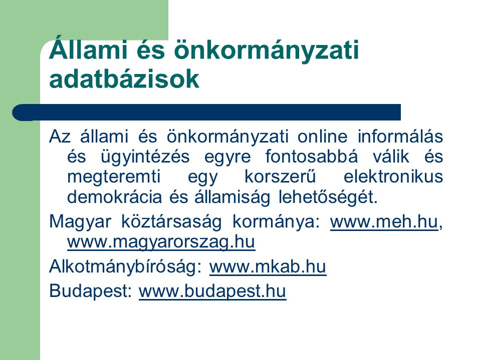 Állami és önkormányzati adatbázisok