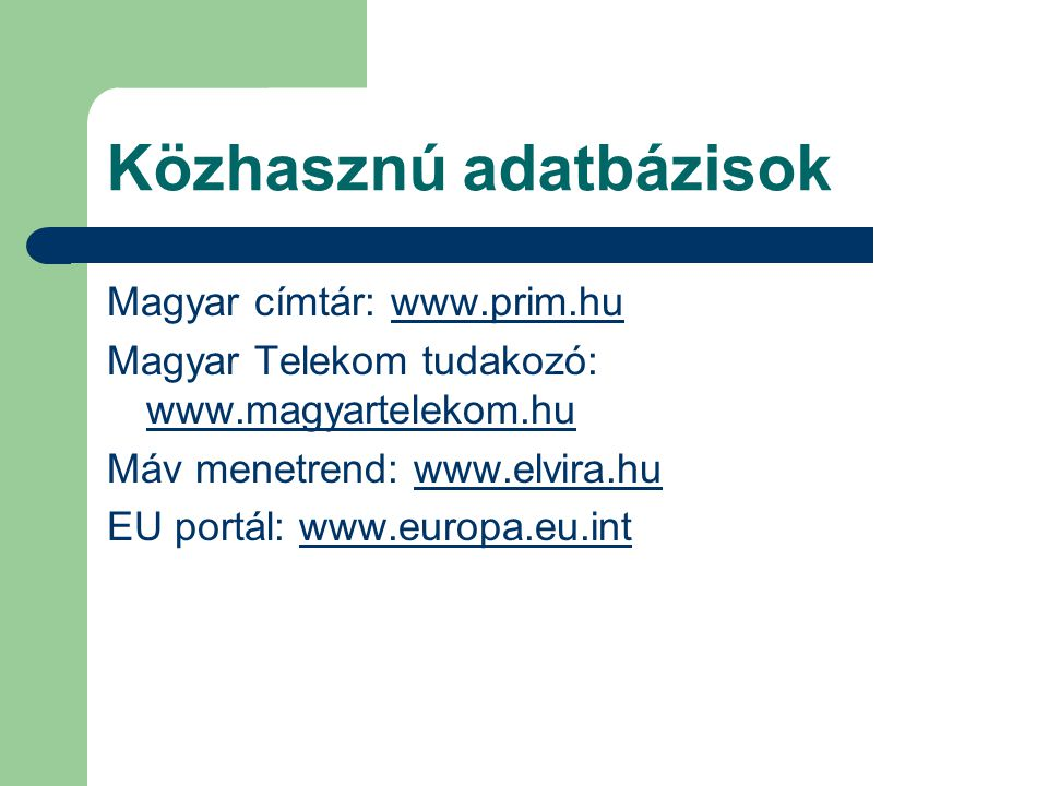 Közhasznú adatbázisok