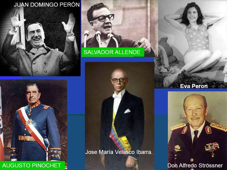 JUAN DOMINGO PERÓN SALVADOR ALLENDE. Eva Peron. Jose María Velasco Ibarra.