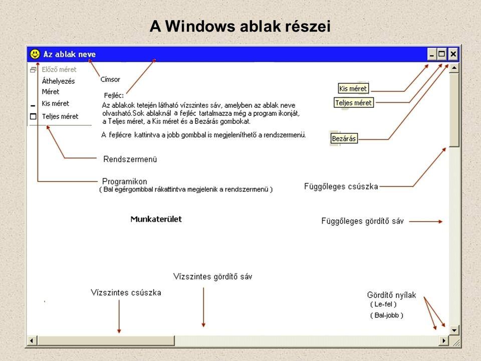 A Windows ablak részei