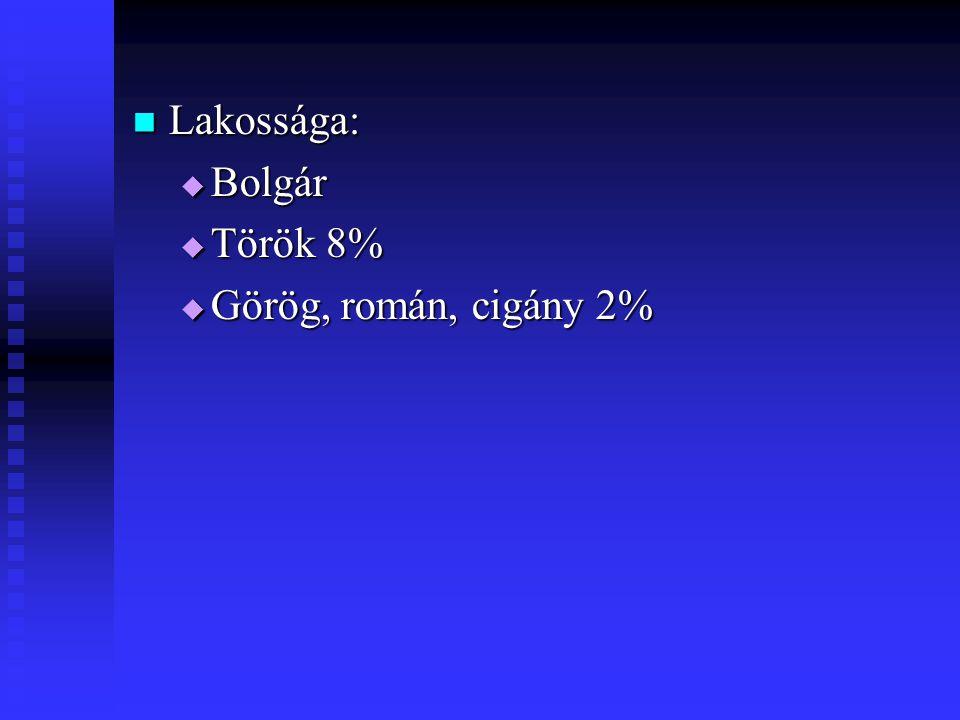 Lakossága: Bolgár Török 8% Görög, román, cigány 2%