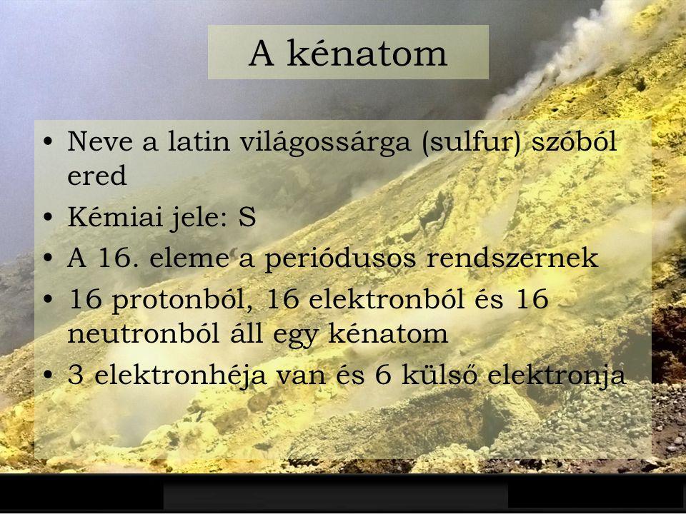 A kénatom Neve a latin világossárga (sulfur) szóból ered