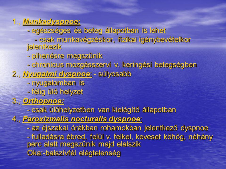1., Munkadyspnoe: - egészséges és beteg állapotban is lehet. - csak munkavégzéskor, fizikai igénybevételkor jelentkezik.
