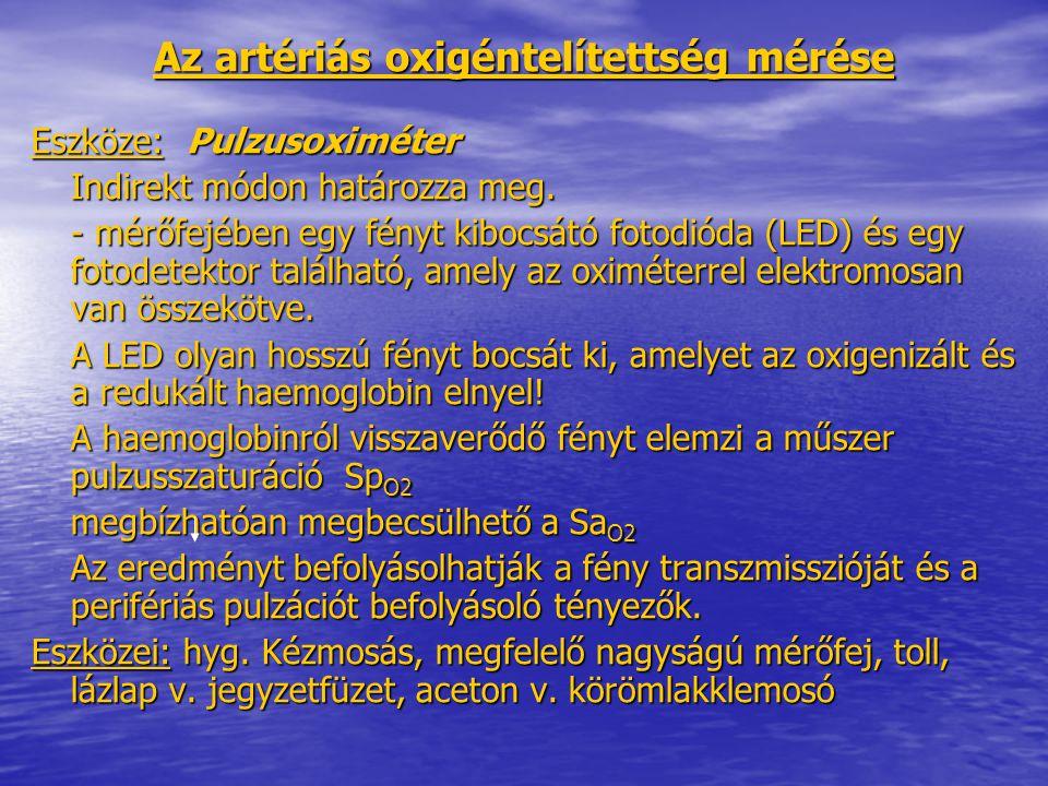 Az artériás oxigéntelítettség mérése