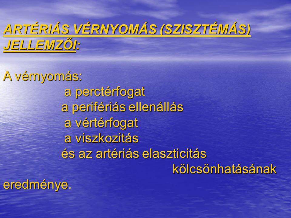 ARTÉRIÁS VÉRNYOMÁS (SZISZTÉMÁS) JELLEMZŐI: