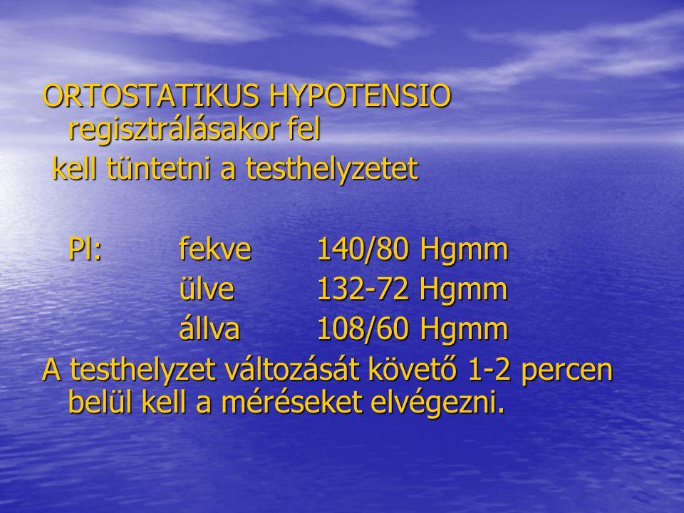 ORTOSTATIKUS HYPOTENSIO regisztrálásakor fel