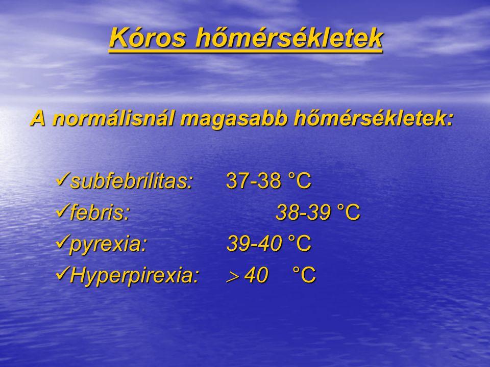 Kóros hőmérsékletek A normálisnál magasabb hőmérsékletek: