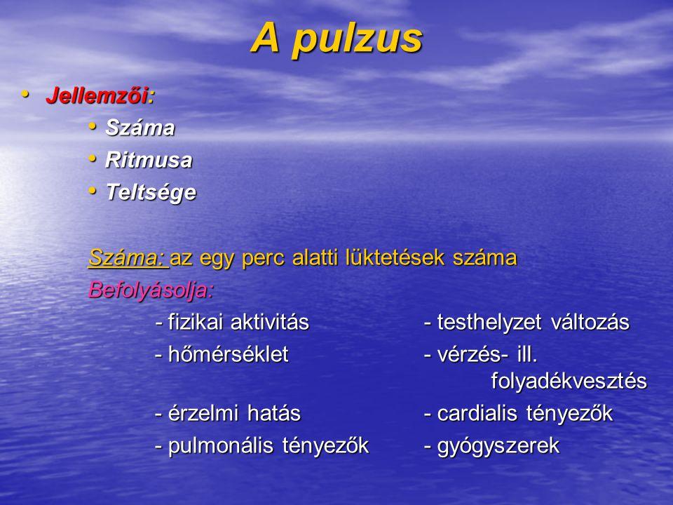 A pulzus Jellemzői: Száma Ritmusa Teltsége