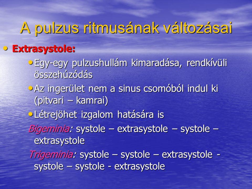 A pulzus ritmusának változásai