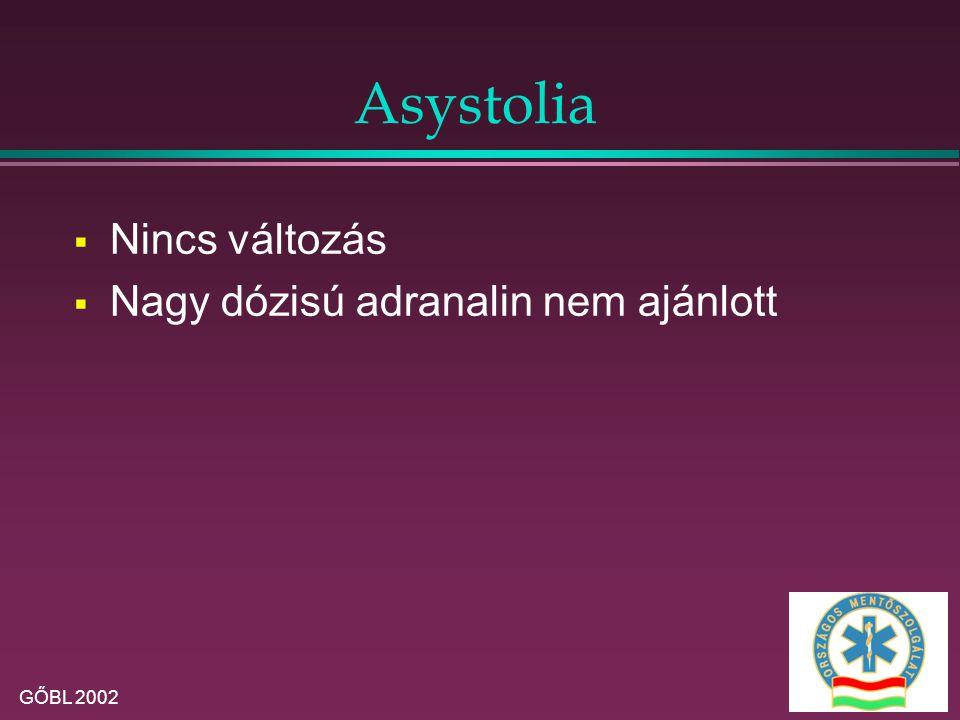 Asystolia Nincs változás Nagy dózisú adranalin nem ajánlott