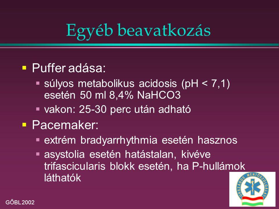 Egyéb beavatkozás Puffer adása: Pacemaker: