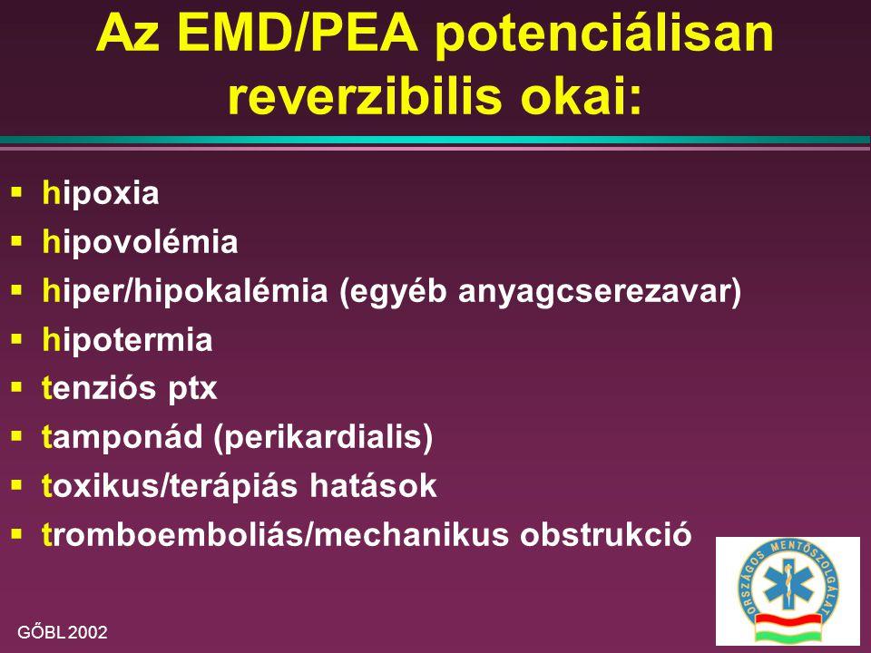 Az EMD/PEA potenciálisan reverzibilis okai:
