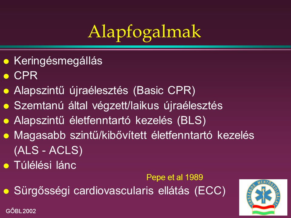 Alapfogalmak Keringésmegállás CPR Alapszintű újraélesztés (Basic CPR)