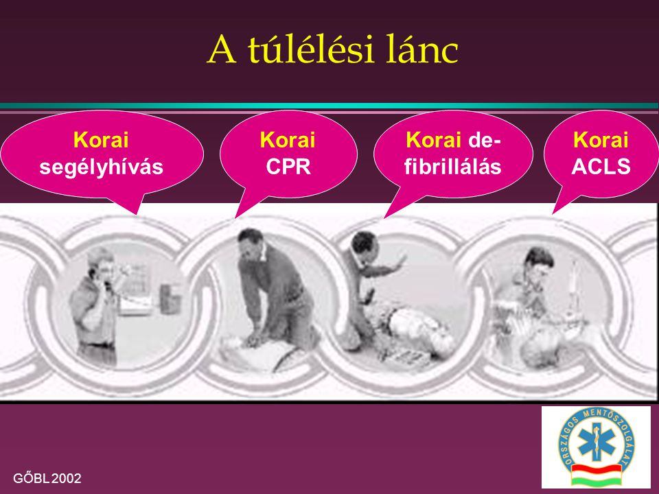 A túlélési lánc Korai segélyhívás Korai CPR Korai de-fibrillálás