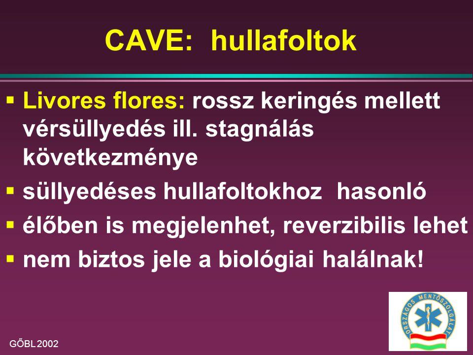 CAVE: hullafoltok Livores flores: rossz keringés mellett vérsüllyedés ill. stagnálás következménye.