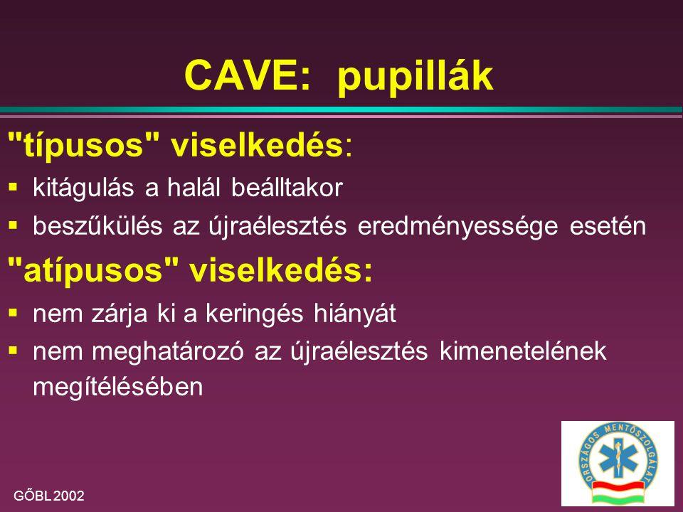 CAVE: pupillák típusos viselkedés: atípusos viselkedés: