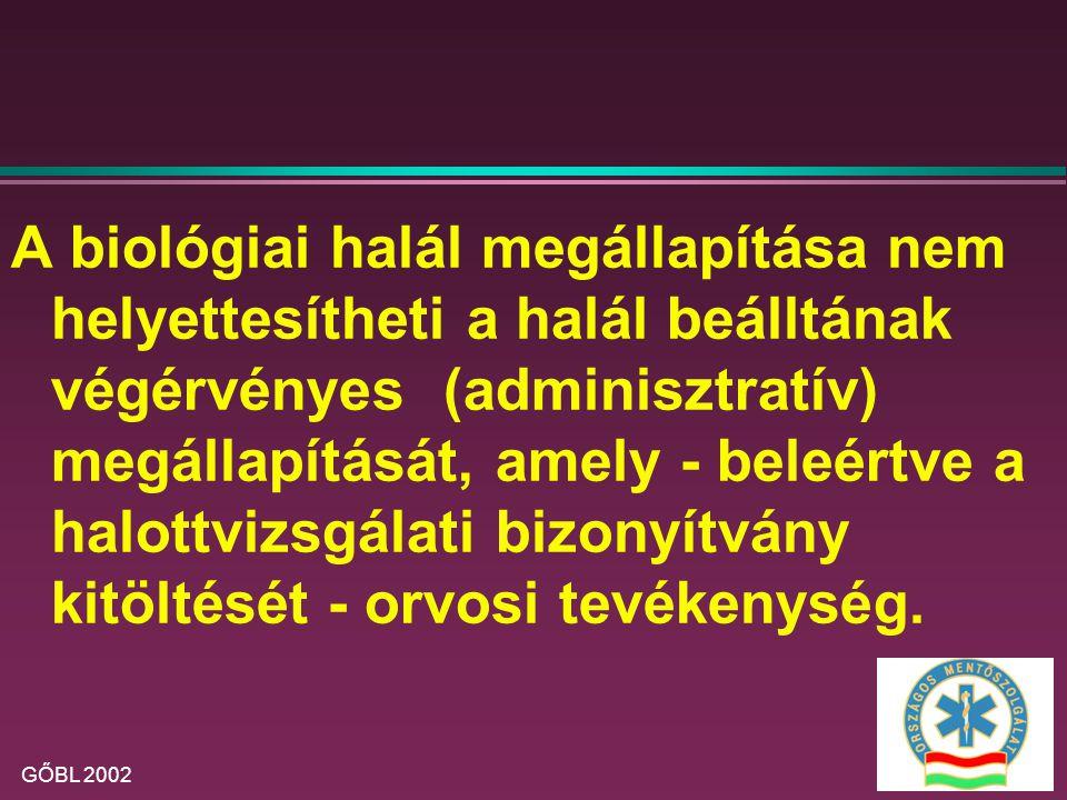 A biológiai halál megállapítása nem helyettesítheti a halál beálltának végérvényes (adminisztratív) megállapítását, amely - beleértve a halottvizsgálati bizonyítvány kitöltését - orvosi tevékenység.