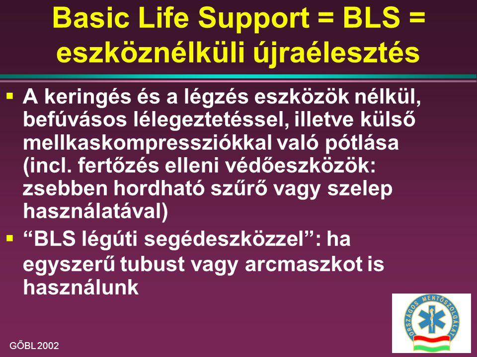 Basic Life Support = BLS = eszköznélküli újraélesztés