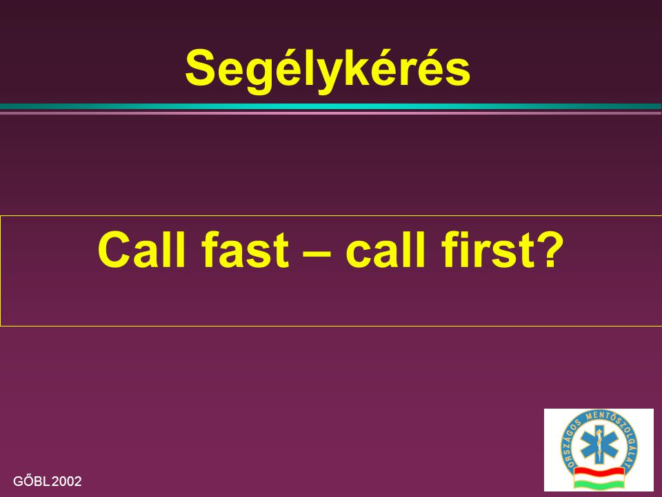 Segélykérés Call fast – call first