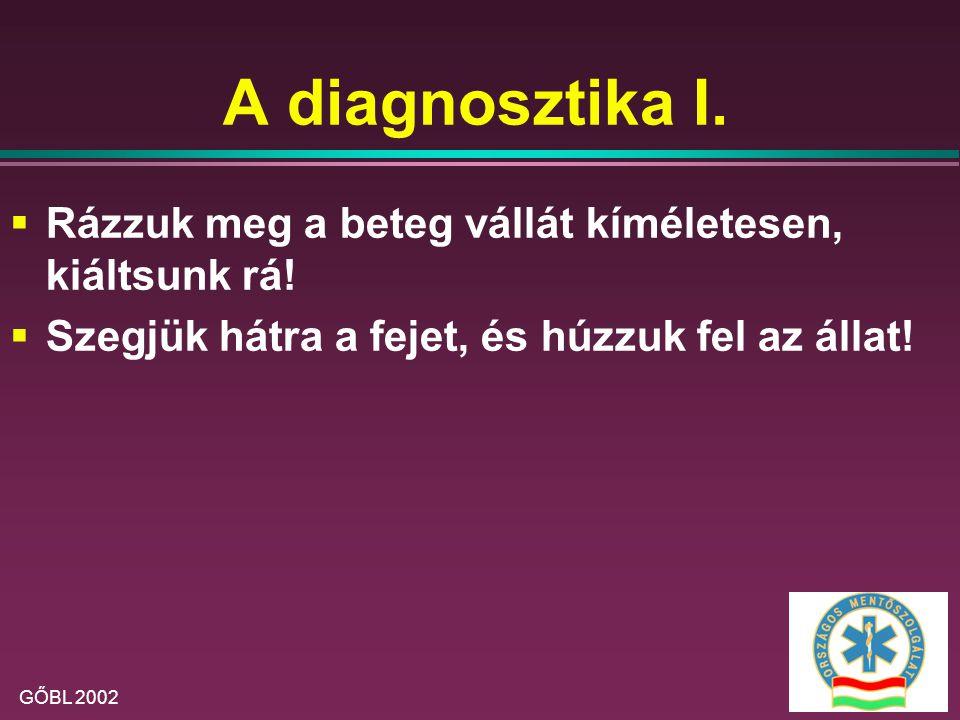 A diagnosztika I. Rázzuk meg a beteg vállát kíméletesen, kiáltsunk rá!
