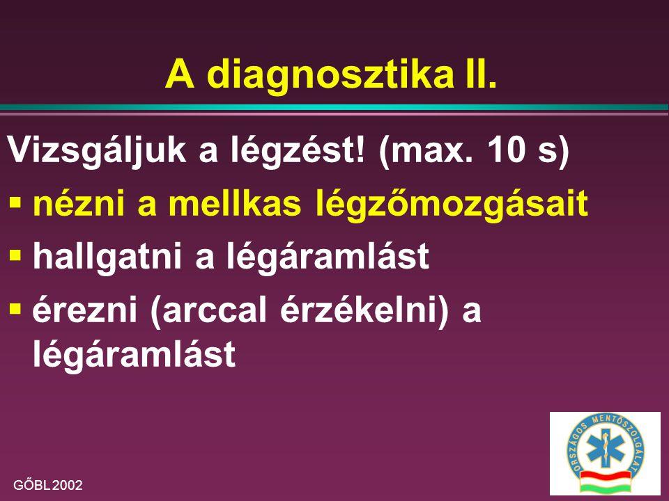 A diagnosztika II. Vizsgáljuk a légzést! (max. 10 s)