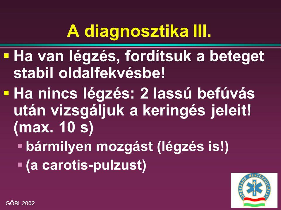 A diagnosztika III. Ha van légzés, fordítsuk a beteget stabil oldalfekvésbe!