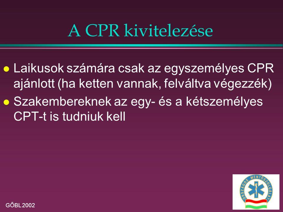 A CPR kivitelezése Laikusok számára csak az egyszemélyes CPR ajánlott (ha ketten vannak, felváltva végezzék)