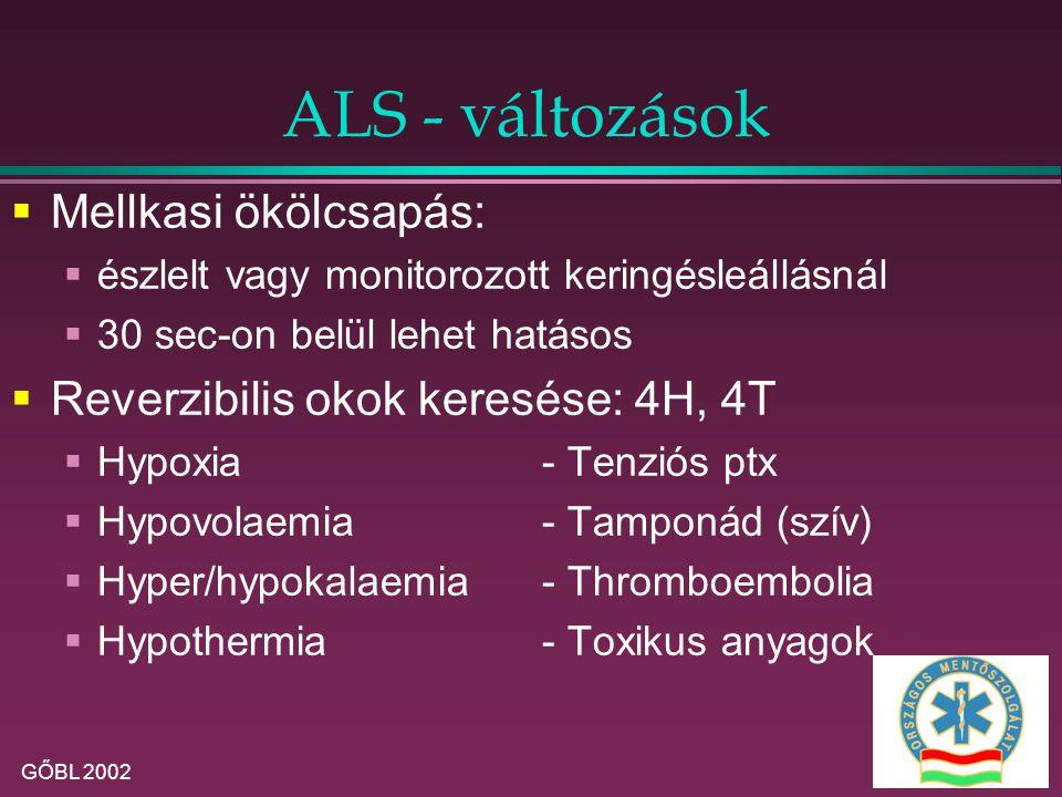 ALS - változások Mellkasi ökölcsapás:
