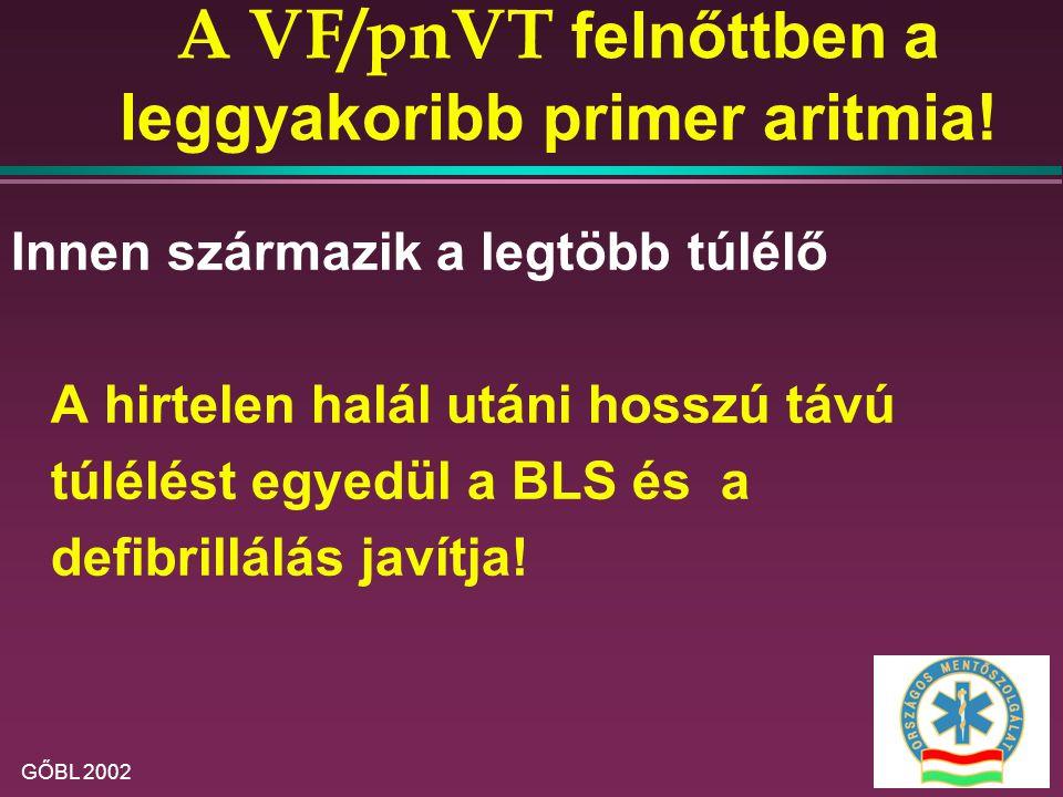 A VF/pnVT felnőttben a leggyakoribb primer aritmia!