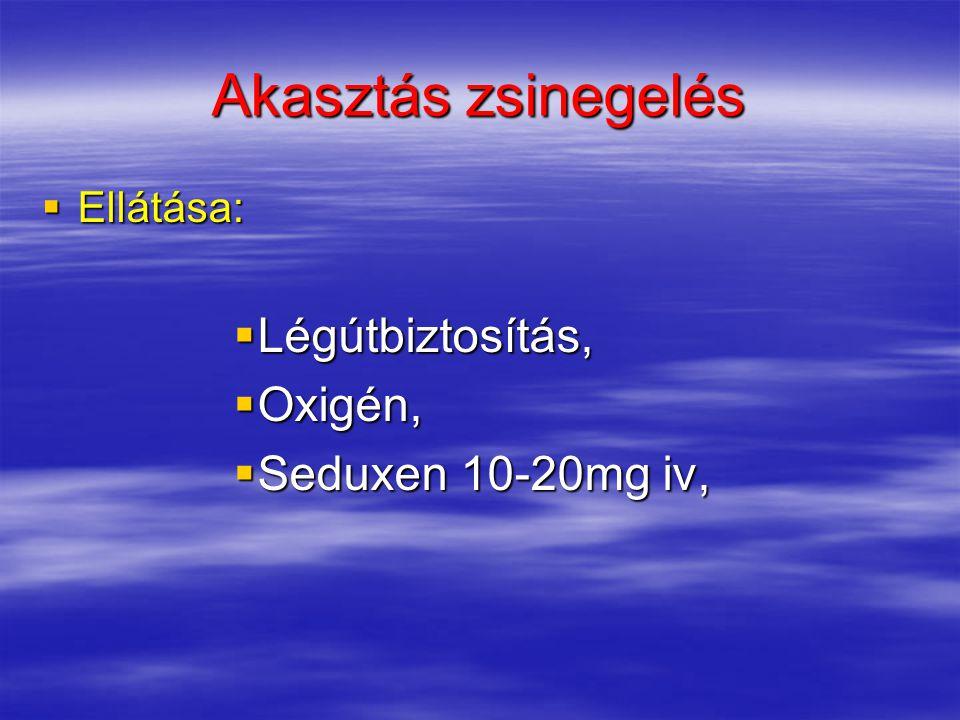 Akasztás zsinegelés Légútbiztosítás, Oxigén, Seduxen 10-20mg iv,