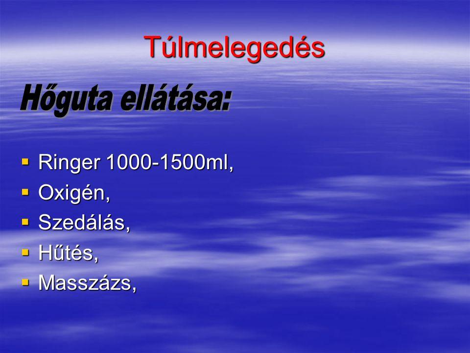 Túlmelegedés Hőguta ellátása: Ringer 1000-1500ml, Oxigén, Szedálás,