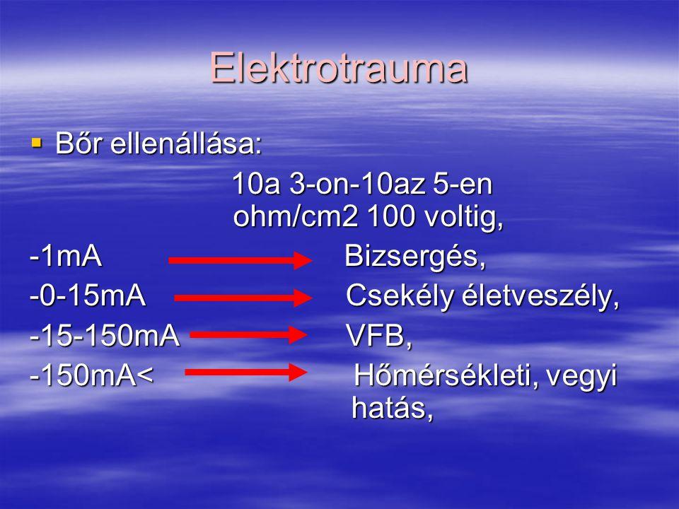 Elektrotrauma Bőr ellenállása: 10a 3-on-10az 5-en ohm/cm2 100 voltig,