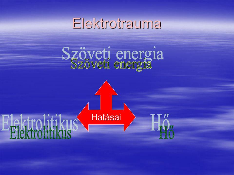 Elektrotrauma Szöveti energia Hatásai Elektrolitikus Hő
