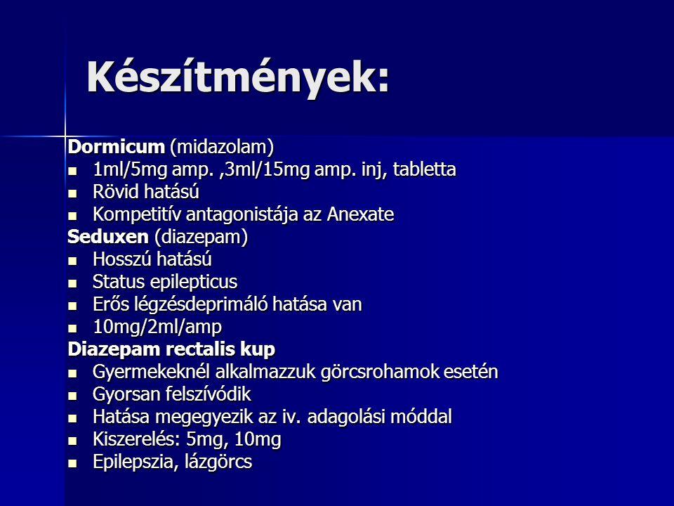 Készítmények: Dormicum (midazolam)