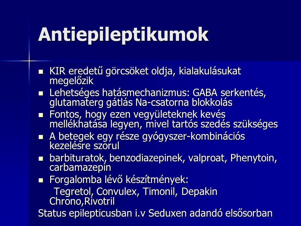 Antiepileptikumok KIR eredetű görcsöket oldja, kialakulásukat megelőzik.