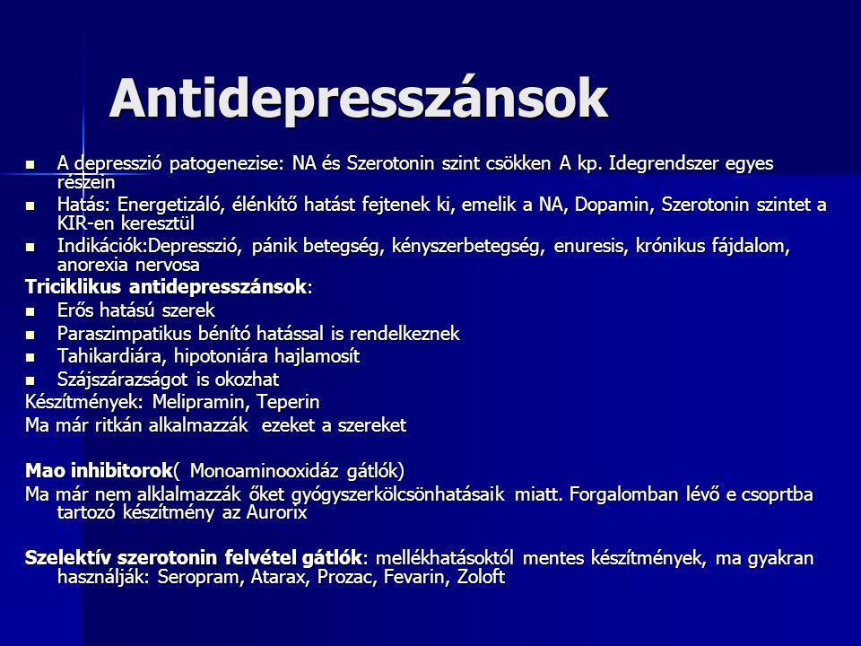 Antidepresszánsok A depresszió patogenezise: NA és Szerotonin szint csökken A kp. Idegrendszer egyes részein.