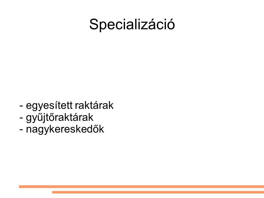 - egyesített raktárak - gyűjtőraktárak - nagykereskedők