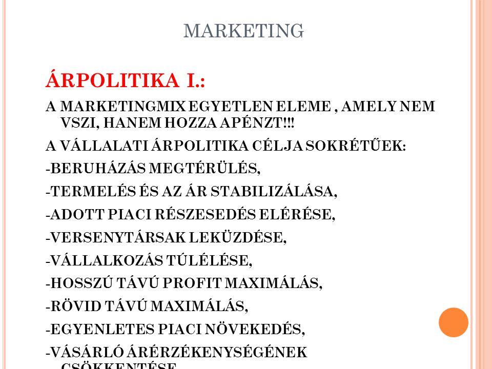 ÁRPOLITIKA I.: MARKETING