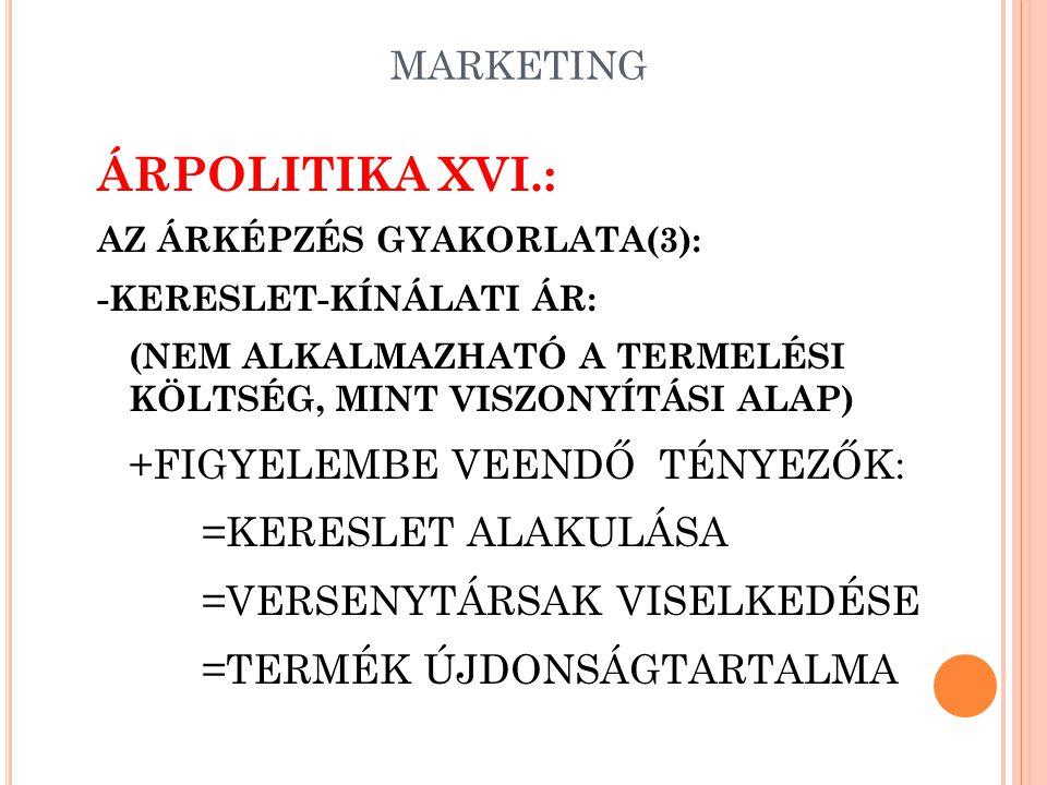 ÁRPOLITIKA XVI.: +FIGYELEMBE VEENDŐ TÉNYEZŐK: =KERESLET ALAKULÁSA