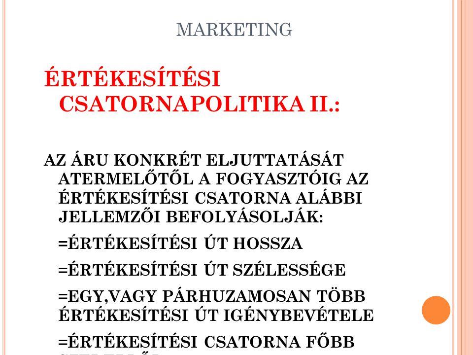 ÉRTÉKESÍTÉSI CSATORNAPOLITIKA II.: