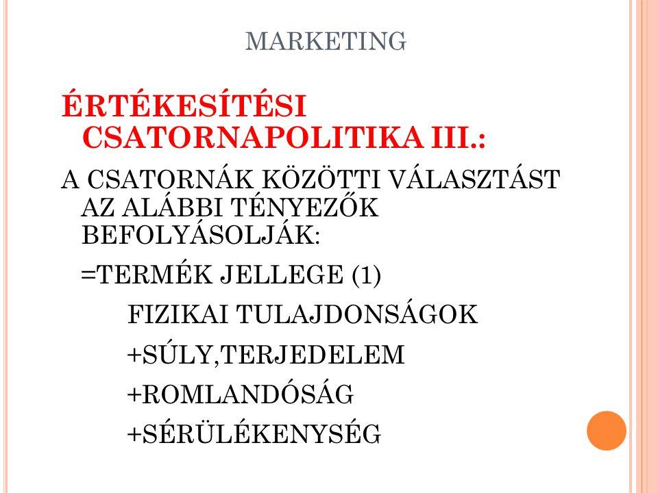 ÉRTÉKESÍTÉSI CSATORNAPOLITIKA III.: