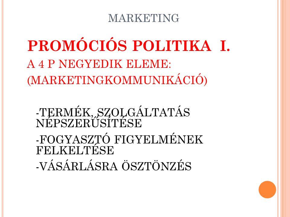 PROMÓCIÓS POLITIKA I. A 4 P NEGYEDIK ELEME: (MARKETINGKOMMUNIKÁCIÓ)