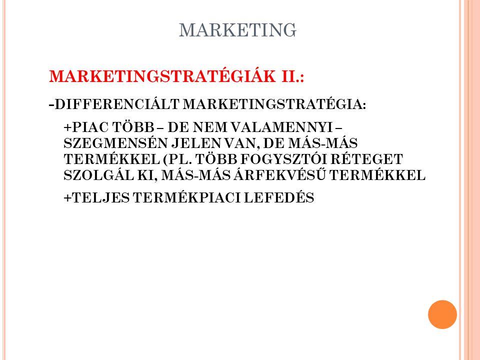 MARKETING MARKETINGSTRATÉGIÁK II.: -DIFFERENCIÁLT MARKETINGSTRATÉGIA: