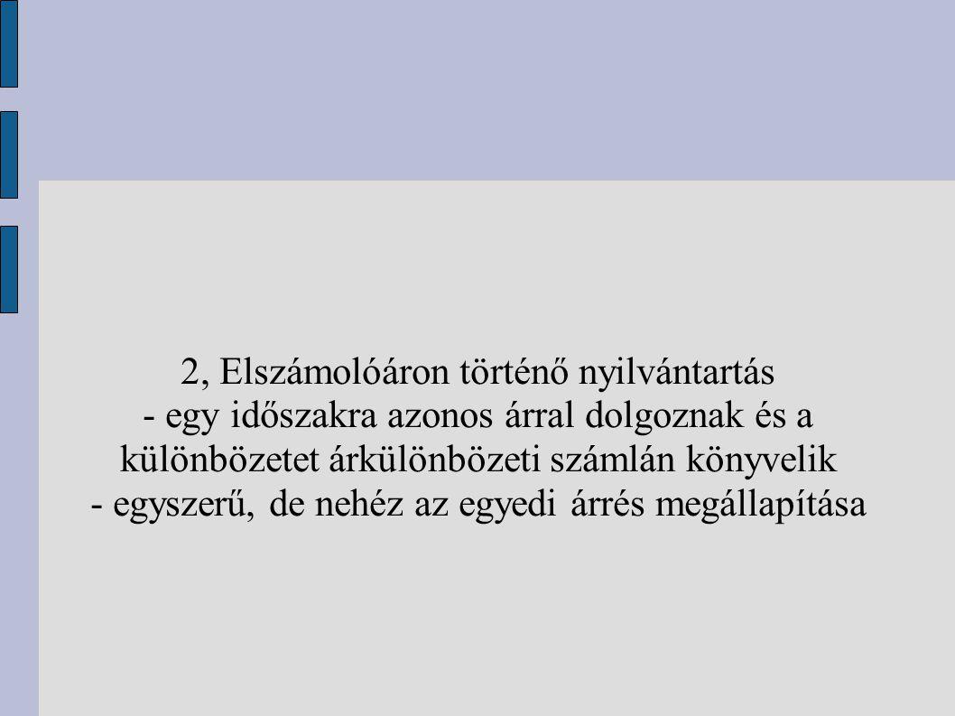 2, Elszámolóáron történő nyilvántartás